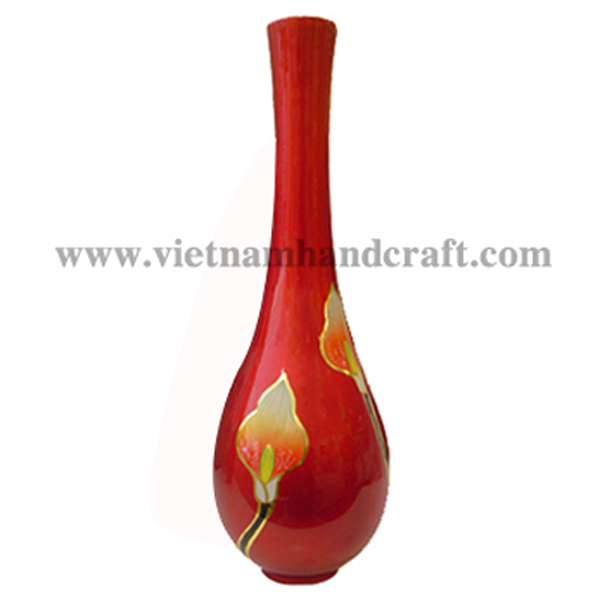 Red lacquered vase with hand-painted flowers