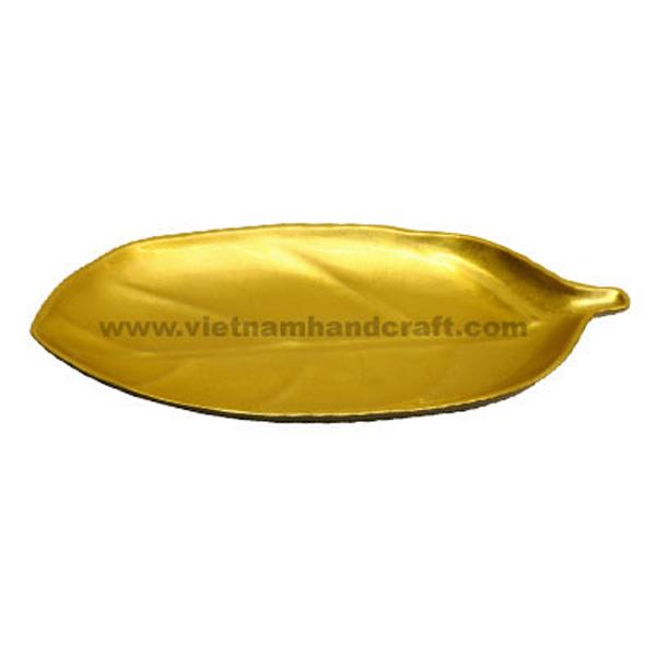 Leaf-shaped lacquered plate in gold leaf & black
