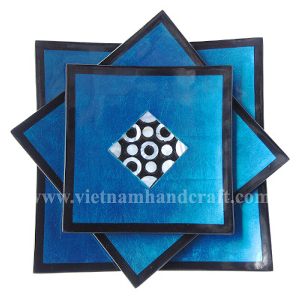Set of three blue silver & black lacquer plates with mother of pearl inlay