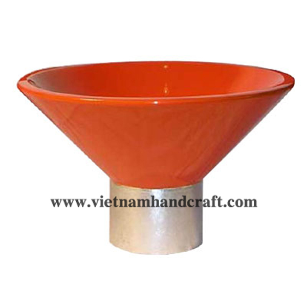 Orange lacquered decoration bowl with foot in white silver leaf