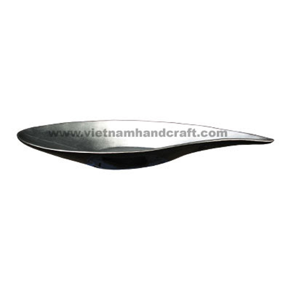 Lacquered bowl. Inside in white silver leaf, outside in black