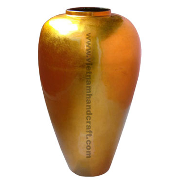 Lacquered bamboo decorative floor vase in gold silver leaf