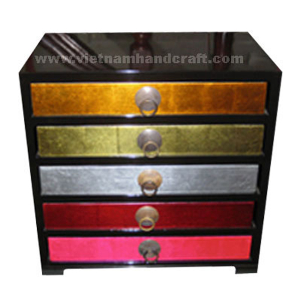Wooden lacquerware bedside chest with 5 drawers