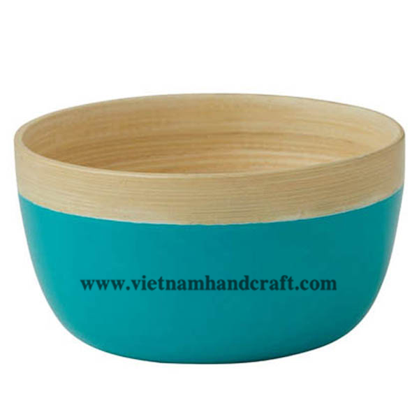 Lacquered bamboo decor bowl in natural bamboo & turquoise