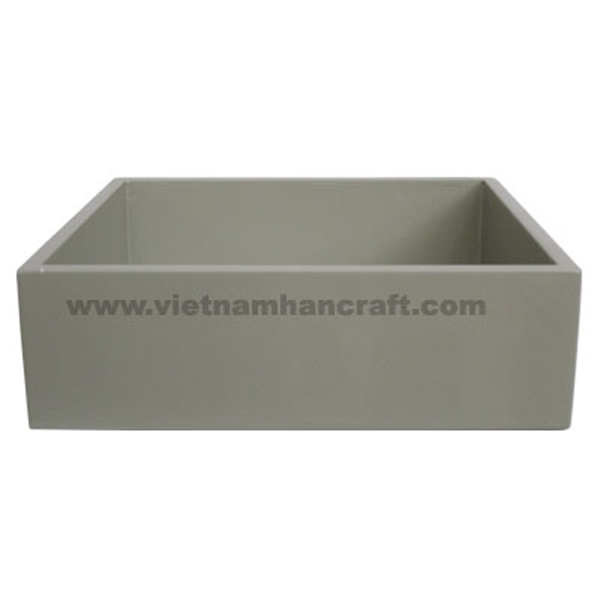 Lacquered wood storage box in gray