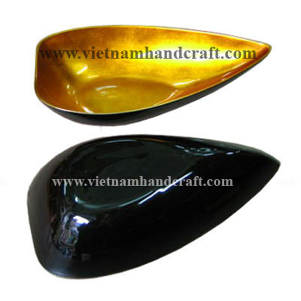 Lacquered bowl in gold silver & black