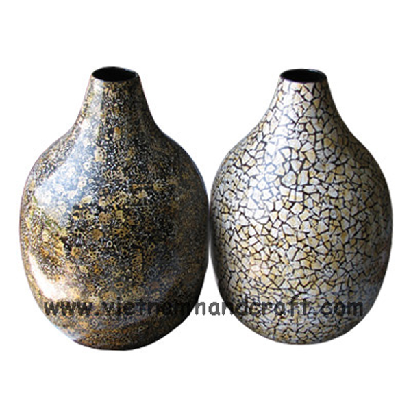 Egg shell inlay lacquered decor vases