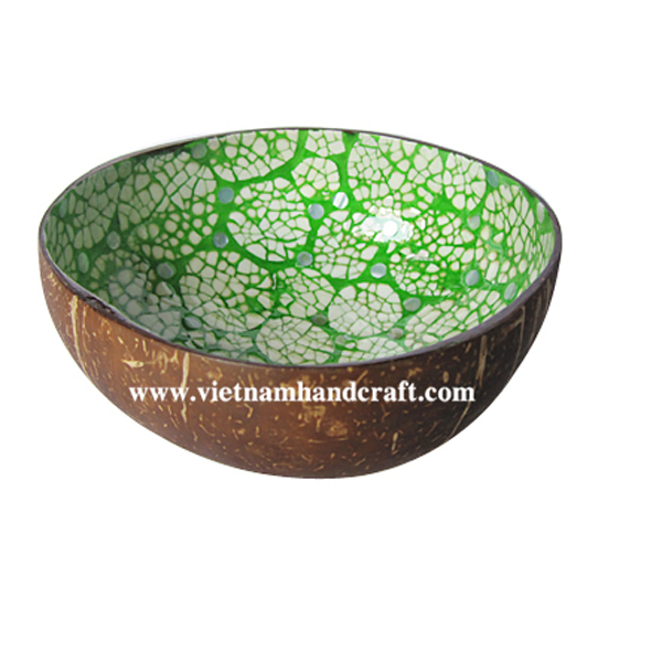 Lacquer coconut bowl. Inside inlaid with eggshell, outside in natural coconut shell