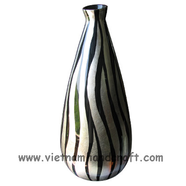 Lacquerware decoration vase with black & white silver leaf stripes