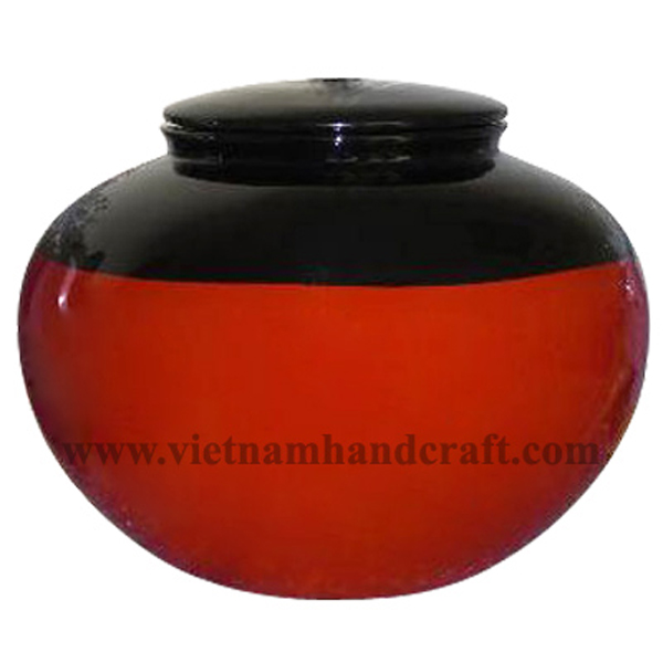 Lacquer ceramic jar/cremation ashes urn in black & solid red