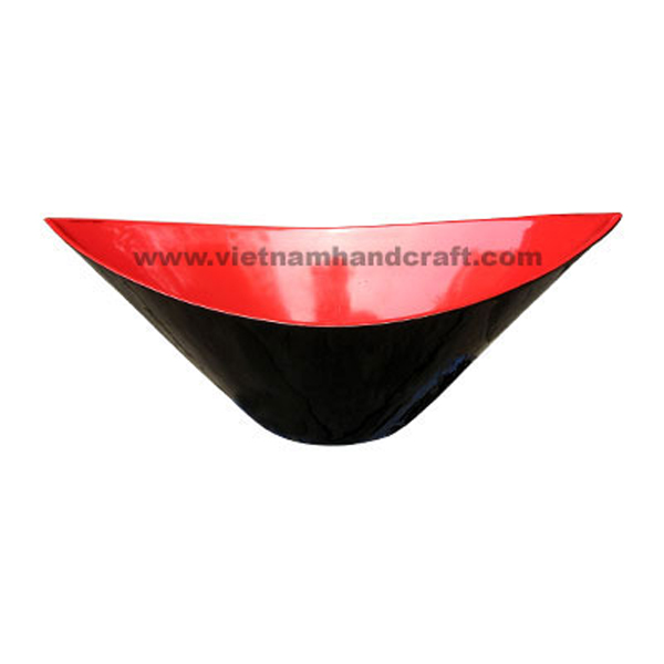 Wooden lacquerware decoration bowl in black & red