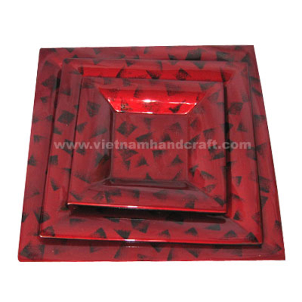 Silver metallic red plate with hand-painted black motifs