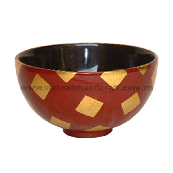 Black & red lacquer bowl with gold silver leaf squares