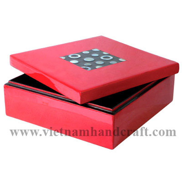 Red & black lacquered cosmetic box with mother of pearl inlay on lid