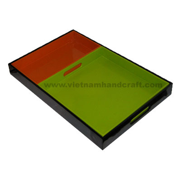 Lacquered wood serving tray set in green & red with black holder tray