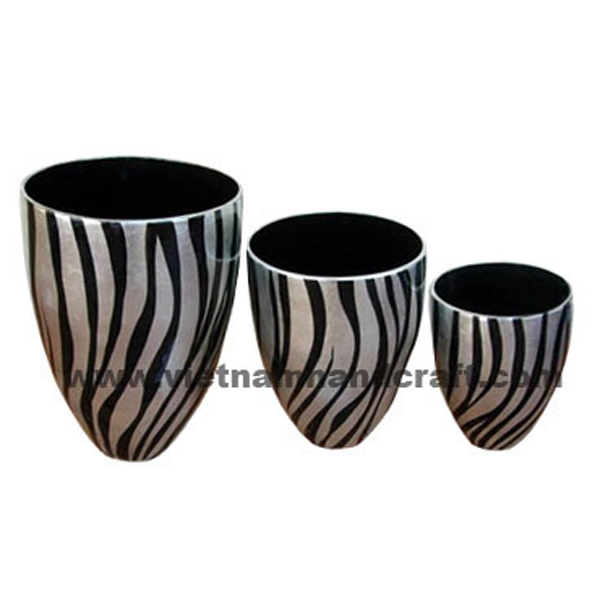 Black lacquered bamboo dry flower vase with black & white silver leaf stripes