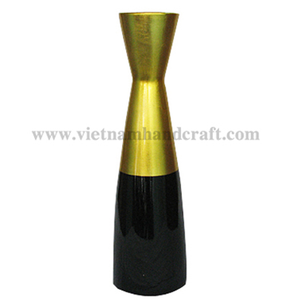 Lacquer flower vase in black & gold silver