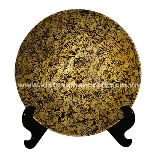 Lacquered wooden decorative plate in silver metallic orange on black background and with black stand