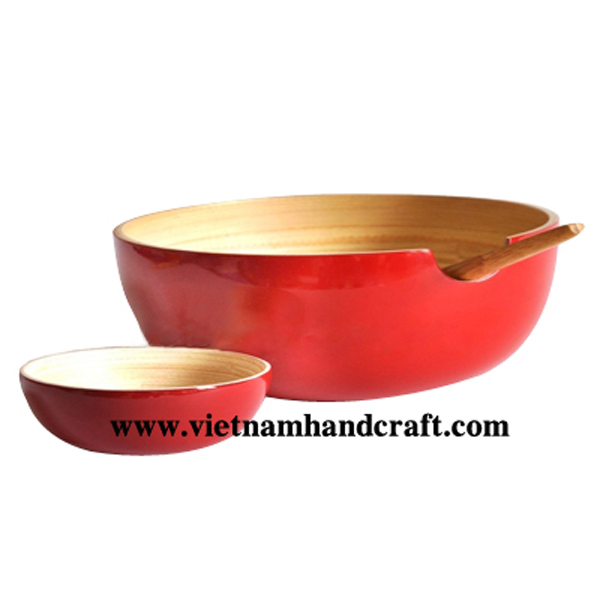 Bamboo lacquerware salad bowl with salad servers