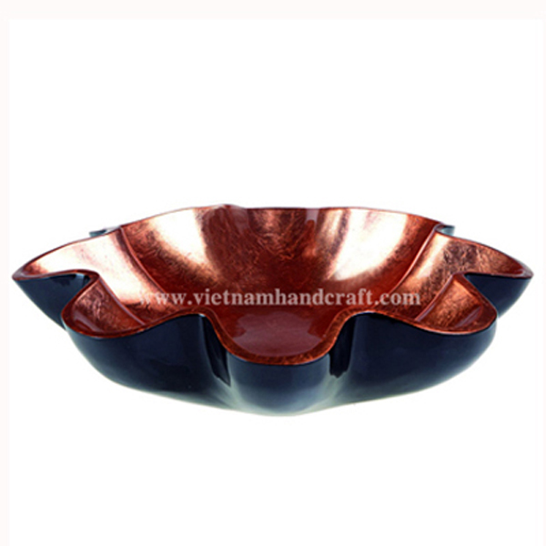 Flower shaped lacquer decor bowl