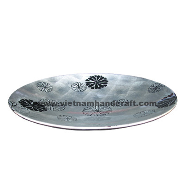 White silver leaf & black lacquered decor plate with hand-painted motifs