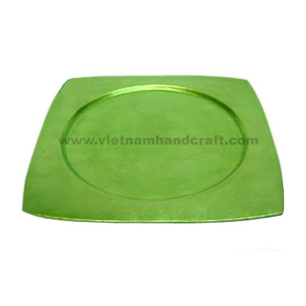 Lacquered plate in silver metallic green