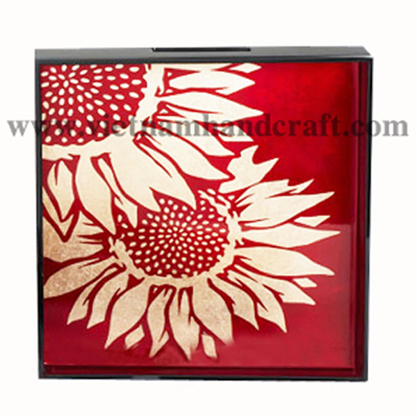 Lacquer decor tray. Inside in red silver & with hand-painted white silver leaf sunflower, outside in black