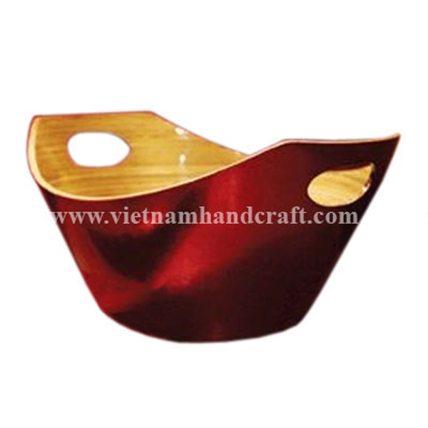 Lacquered bamboo bread bowl. Inside in natural bamboo, outside in silver metallic red