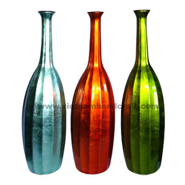 Set of 3 lacquer decoration vases in silver metallic green, orange & turquoise