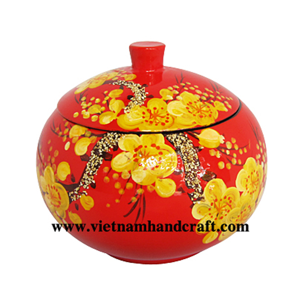 Lacquered wood jar with hand-painted apricot blossom