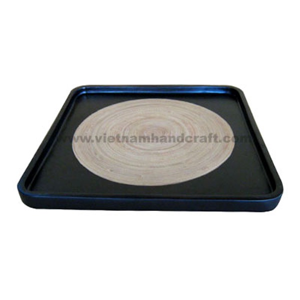 Lacquer bamboo dinnerware tray in black & natural bamboo