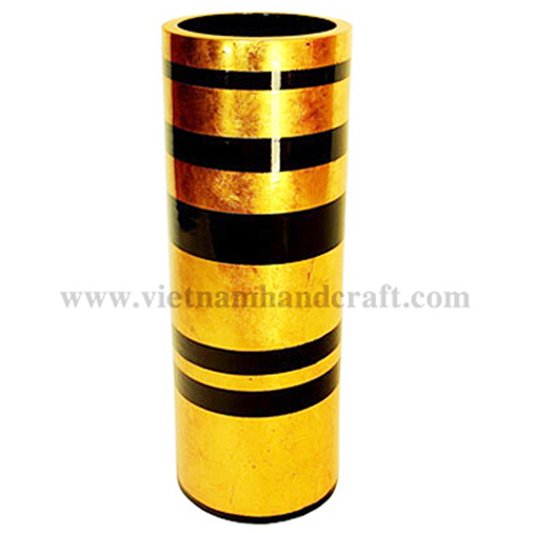Lacquered ceramic fresh flower vase in gold silver & black stripes