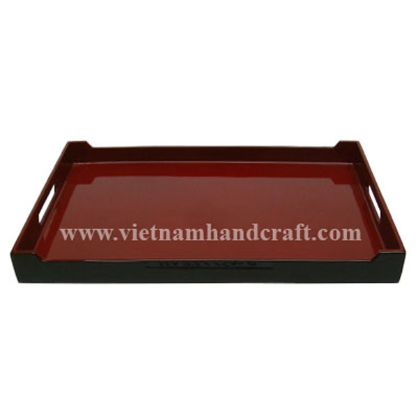 Black & red lacquered wooden breakfast tray