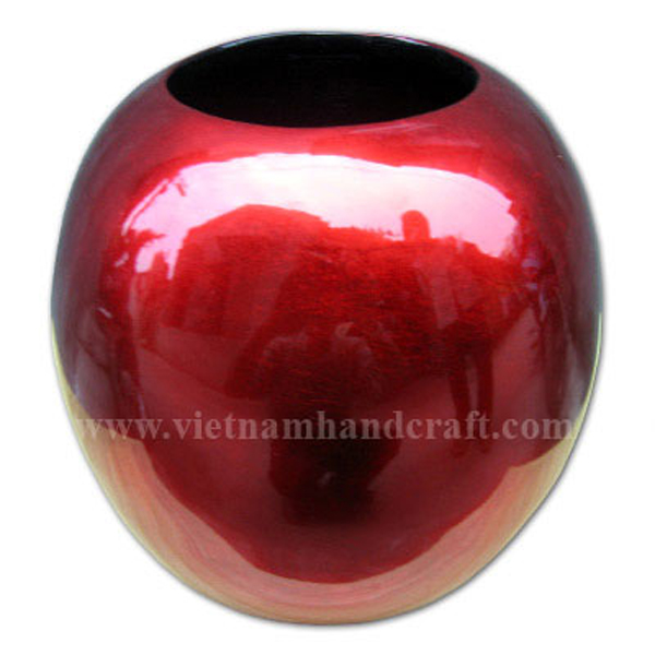 Ball-shaped lacquer wooden dry flower vase in silver metallic red
