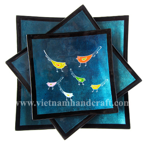 Lacquered decor plate in silver metallic blue & black with hand-painted chickens