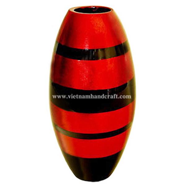 Lacquerware vase in black & red silver stripes