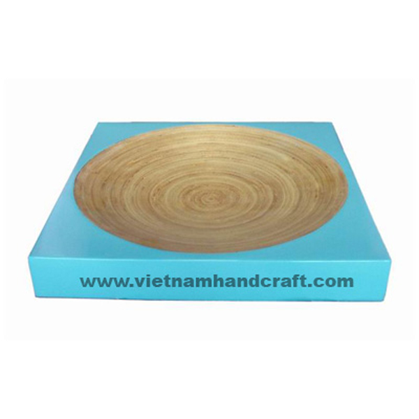 Bamboo lacquerware food dish in natural bamboo &  turquoise
