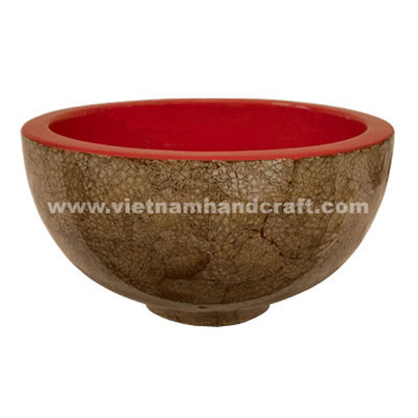 Wooden lacquerware decor bowl with eggshell inlay outside
