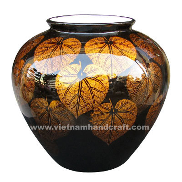 Black lacquer ceramic vase with hand-painted gold leaf