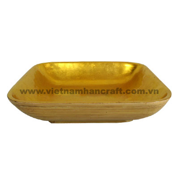 Lacquered bamboo storage bowl. Inside in gold silver leaf, outside in natural bamboo