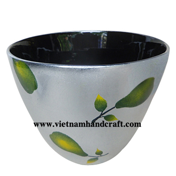 Lacquered decorative bowl. Inside in black, outside in white silver leaf with handpainted pear