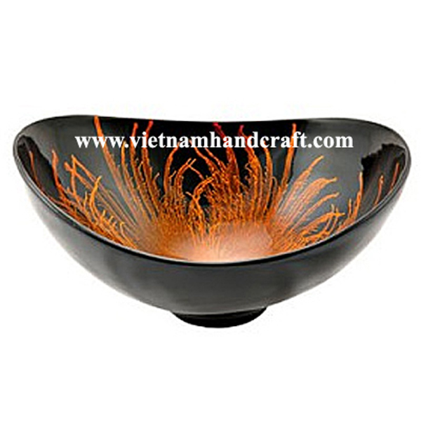 Black lacquered decor bowl with hand-painted orange fireworks inside