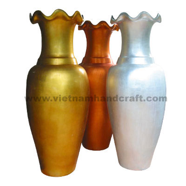 Set of 3 lacquered bamboo floor decor vase in white, gold and orange silver