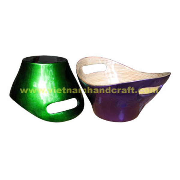 Lacquered bamboo bread bowl. Inside in natural bamboo, outside in silver metallic green & purple