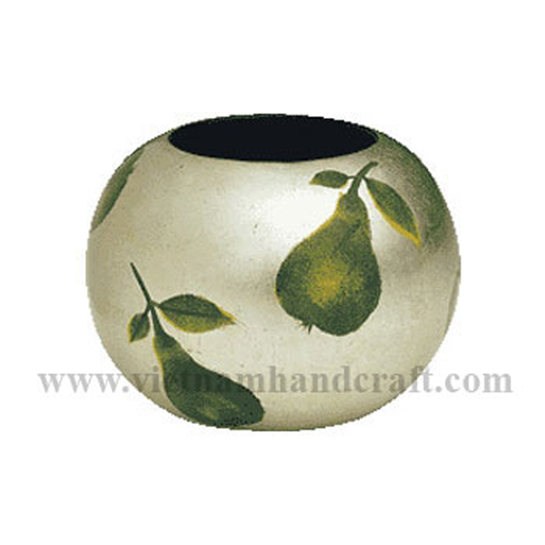 Lacquered wood vase in white silver leaf with hand-painted pears
