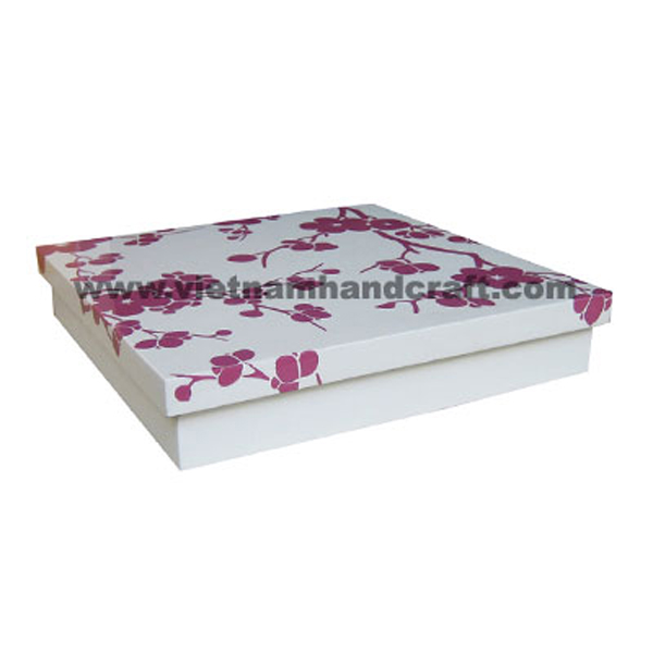 White lacquered wooden decor box with hand-painted flowers