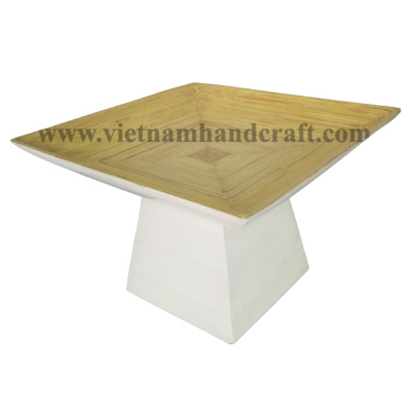 Bamboo serving plate in natural & white