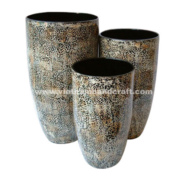 Set of 3 black lacquered bamboo vase inlaid wth burnt eggshell
