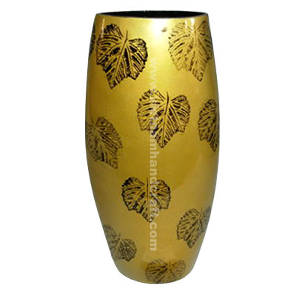 Gold lacquer vase with hand-painted black leaves