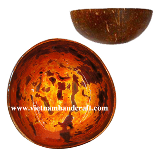 Lacquered coconut bowl. Inside in antique finish, outside in natural coconut shell
